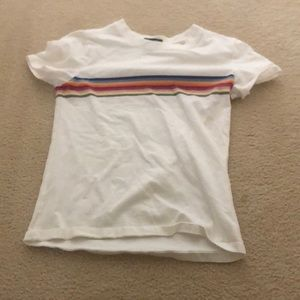 White shirt with rainbow stripes